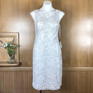 SUE WONG White w/ Silver Sequins Dress